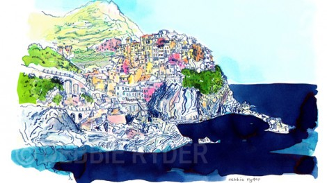 Pen and ink, watercolour - Cinque coast, Italy