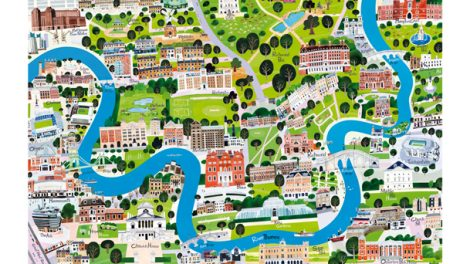 River Thames A1 print - South West London map