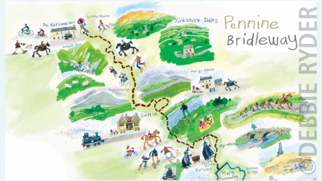 Exhibition panel map for The Countryside Agency - Pennine Bridleway