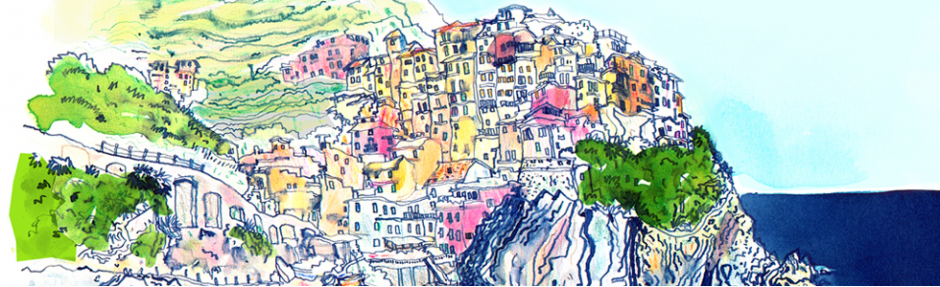 italy, coast, travel, cinqueterre, tourism, pen, inks, watercolour