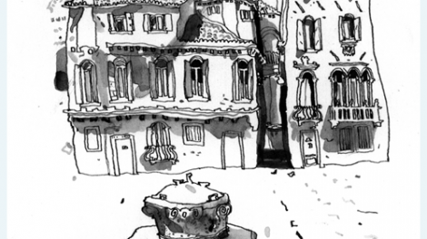 Exhibition work, pen and ink   - Venice Buildings