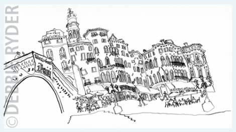 Exhibition work, pen and ink - Venice - Rialto Bridge